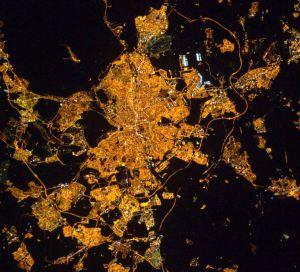 Madrid, vista de noche desde la Estación Espacial Internacional