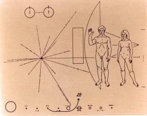 La placa de la sonda Pioneer 10. Crédito: Carl Sagan & Frank Drake; artwork by Linda Salzman Sagan