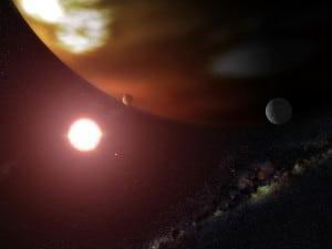Recreación artística de Gliese 876b, uno de los exoplanetas del sistema exoplanetario más cercano a la Tierra.