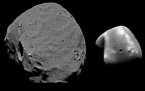 Marte sólo tiene dos pequeños asteroides como satélites: Fobos y Deimos