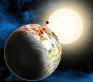 Representación artística de Kepler-10c, una megatierra. Crédito: Harvard-Smithsonian Center for Astrophysics/David Aguilar