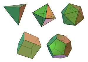 Los cinco sólidos platónicos