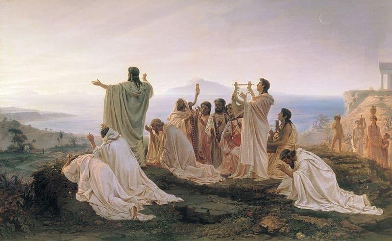 Pitagóricos observando un amanecer