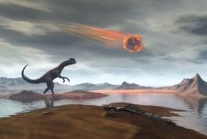 """""""Ups""""... debió de pensar el dinosaurio de esta recreación artística al ver la que se les venía encima..."""