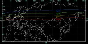 En este mapa de la NOAA se puede apreciar las zonas de visibilidad de la Aurora Boreal en función de la intensidad de la actividad geomagnética (cuanto más grande sea el número, más intenso).