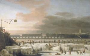 El Támesis congelado.  Cuadro de Abraham Hondius (1631-1691)