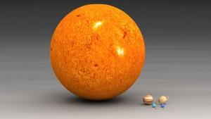 """El tamaño del Sol comparado con los planetas. Crédito: Usuario """"Lsmpascal"""" de Wikipedia."""