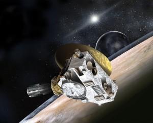 Recreación artística de la aproximación de la sonda New Horizons a Plutón y Caronte. Crédito: Johns Hopkins University Applied Physics Laboratory/Southwest Research Institute