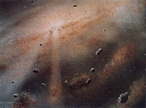 Recreación artística de los principios del Sistema Solar. Crédito: William K. Hartmann, Planetary Science Institute, Tucson, Arizona