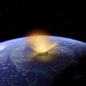 Recreación artística del impacto de un meteorito de 10 kilómetros en la península del Yucatán. Crédito: Don Davis