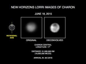 Imágenes de Caronte del telescopio LORRI de la sonda New Horizons. Crédito: Credits: NASA/Johns Hopkins University Applied Physics Laboratory/Southwest Research Institute