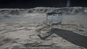 Recreación artística de la sonda Philae sobre la superficie del cometa. Crédito: DLR (Wikipedia)