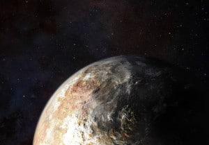Concepto artístico de las nubes en Plutón (si es que las hay). Crédito: NASA / JHUAPL