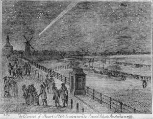 El gran cometa de 1769 sobre Amsterdam. Autor: Anónimo.