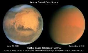 Marte el 26 de junio de 2.001, y el 4 de septiembre del mismo año. La tormenta de arena hizo que la superficie del planeta apenas fuese visible. Crédito: NASA
