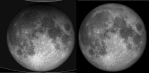 En esta imagen puedes ver la comparación entre la luna durante un eclipse penumbral total y la luna en estado normal. Crédito: Tom Ruen