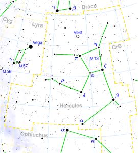 Cómo localizar el Cúmulo de Hércules. Crédito: Torsten Bronger