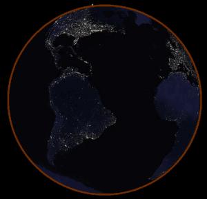 Visto desde la Luna, durante un eclipse lunar total la Tierra aparecería con un ligero disco rojo a su alrededor. Crédito: Tom Ruen