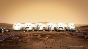 Concepto artístico de las naves y astronautas del proyecto Mars One, que pretende habitar Marte en 2.025. Crédito: Bryan Versteeg/Mars One