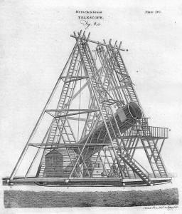 El telescopio de 40 pies de Herschel. Seamos sinceros. Muy manejable no parece... Crédito: Andrew Bell y Colin Macfarquhar