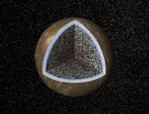 Modelo de Calisto en el que se puede ver el detalle de su estructura interior. Crédito: NASA/JPL