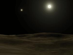 """Una recreación artística de cómo se podría ver el sistema binario de Alfa Centauri desde un planeta sin atmósfera. Crédito: Usuario """"The Plague"""" de Wikipedia"""