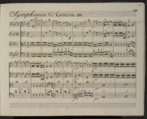 Partitura de la sinfónia nº 15, escrita por Herschel. Crédito: Sir William Herschel