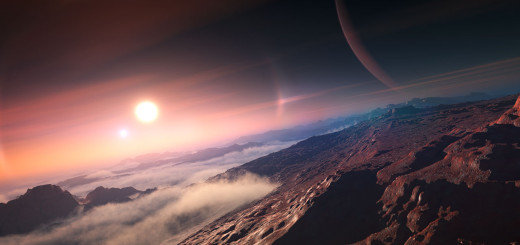 Concepto artístico de un exoplaneta visto desde su luna. Crédito: IAU/L. Calçada