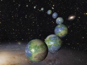 Concepto artístico de innumerables planetas como la Tierra, que se formaran en los próximos cientos de miles de millones de años.  Crédito: NASA, ESA, y G. Bacon (STScI)