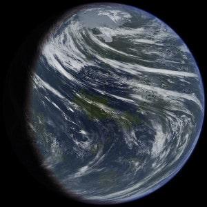 """Representación artística de Venus terraformado. Crédito: Usuario """"Ittiz"""" de Wikipedia"""
