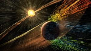 Recreación artística de una tormenta solar golpeando Marte y arrancando los iones de las capas altas de la atmósfera. Crédito: NASA/GSFC