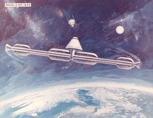 Un concepto de estación espacial con gravedad artificial, creado por la NASA en 1.969. Crédito: NASA