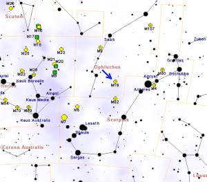 Como localizar el cúmulo globular Messier 19. Crédito: Roberto Mura