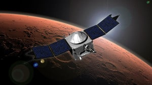 Recreación de la sonda MAVEN entrando en la órbita de Marte. Crédito: NASA/Goddard Space Flight Center