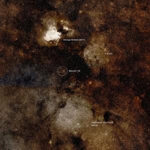 Ubicación de Messier 18 en el firmamento. Crédito: WikiSky
