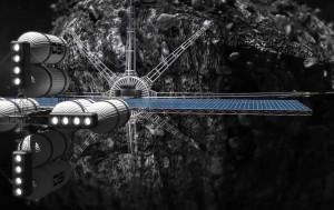 Concepto artístico de un robot de extracción de minerales en un asteroide. Crédito: Deep Space Industries