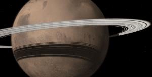 Un concepto artístico de Marte con los anillos de Saturno. Crédito: Tushar Mittal