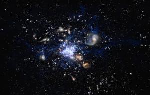 Este es un concepto artístico de un protocúmulo de galaxias en las primeras etapas del Universo. Crédito: ESO/M. Kornmesser