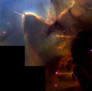 Esta imagen muestra las columnas en el interior de la Nebulosa Trífida. Crédito: NASA and Jeff Hester (Arizona State University)