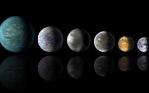 Esta imagen muestra la Tierra (a la derecha del todo) y las impresiones artísticas de Kepler-22b, Kepler-69c, Kepler-452b, Kepler-62f y Kepler-186f.  Crédito: NASA/Ames/JPL-Caltech