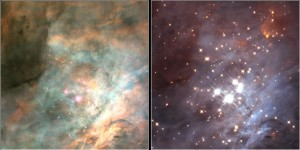 Esta imagen muestra el interior de una región de la Nebulosa de Orión. En la izquierda vemos la región en el espectro visible, mientras la derecha nos muestra, en infrarrojo, el denso cúmulo abierto que se está formando en su interior. Crédito: NASA