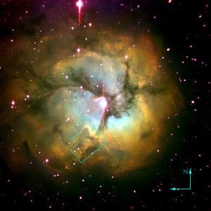 La nebulosa Trífida vista en infrarrojo.  Crédito:  Jeff Hester (Arizona State University), Palomar telescope