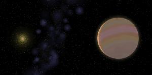 Concepto artístico de HD 32963 b, un exoplaneta descubierto recientemente. Crédito: Stefano Meschiari