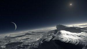 Concepto artístico del Sol, y Caronte, vistos desde Plutón. Crédito: ESO/L. Calçada