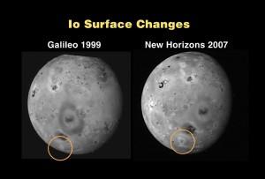 En esta imagen se puede ver la diferencia en la superficie entre las visitas de la sonda Galileo, en 1999, y New Horizons en 2007. Crédito: NASA/Johns Hopkins University Applied Physics Laboratory/Southwest Research Institute