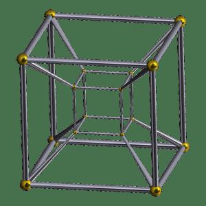 Representación en tres dimensiones de un teseracto. Crédito: Robert Webb's Stella software