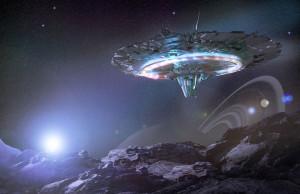 Una nave espacial en un campo de asteroides. Crédito: Getty Images