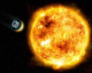 Esta ilustración artística muestra a Kappa Ceti, una estrella mucho más joven que el Sol, interaccionando con el campo magnético de un planeta rocoso. Crédito: M. Weiss/CfA.
