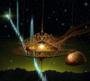 Un concepto artístico que muestra un FRB pasando a través del radiotelescopio de Arecibo. Crédito: Danielle Futselaar