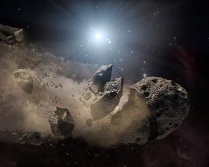 Concepto artístico de un asteroide destrozado por haberse acercado demasiado a su estrella. Crédito: NASA/JPL-Caltech